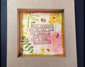 Encouragement Paper Shadowbox, Friendship Shadowbox, Handmade Paper Shadowbox, Words of Encouragement