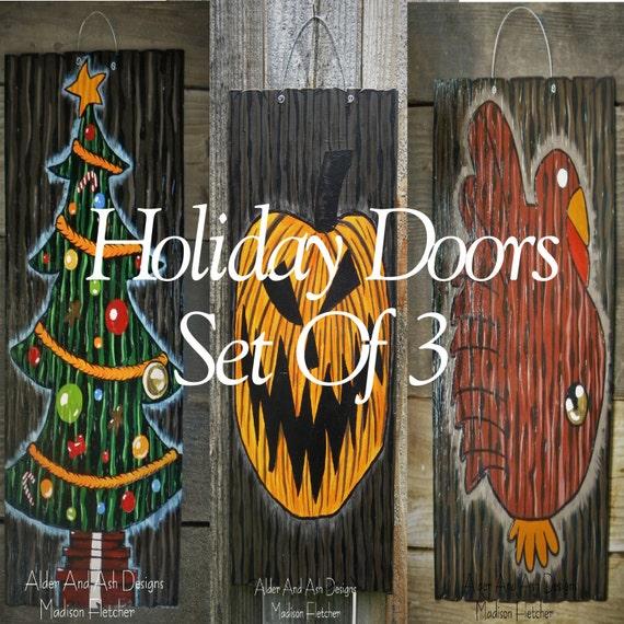 Nightmare Before Christmas Inspired Holiday Doors Set Of 3