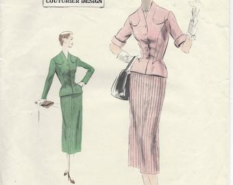"""1953 Vintage VOGUE Sewing Pattern B32"""" JACKET, Blouse, SUIT, Dress (R202)   Vogue 744"""
