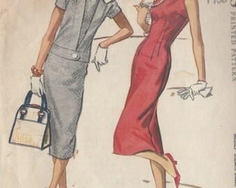 1958 Vintage Sewing Pattern B36 DRESS & JACKET (R247) McCalls 4549