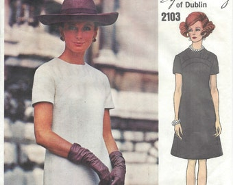 1969 Vintage VOGUE Sewing Pattern B38 DRESS (1418) By SYBIL Connolly of Dublin Vogue 2103