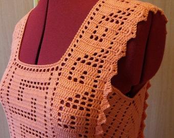 Crocheted tunic, crocheted dress, beach dress, orange tunic, woman clothes, crochet clothes