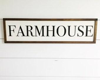 """Farmhouse Handmade Wood Sign   Farmhouse + Modern Farmhouse Decor   9""""X34"""""""