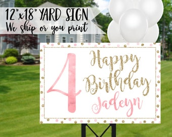 Pink Gold Birthday Sign, Polka Dot Birthday Sign, Birthday Yard Sign, Pink Gold Birthday, Pink Gold Welcome Sign