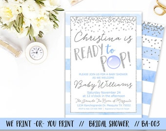 Ready to Pop Boy Baby Shower Invitation, Boy Baby Shower Invitation, Boy Ready To Pop Invitation, Ready to Pop Babyshower Invite