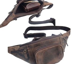 Streetrider® Leather Belt Bag Waist Bum Bag Brown