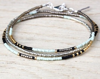 Bracelet triple towers beads miyuki grey or green water