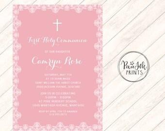 Lace Communion Invitation, Lace 1st Communion Invitation, Pink Lace Communion Invitation, DIY Communion Printable, Lace Christening Invite