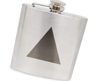 Isosceles Triangle 6 Oz Flask, Stainless Steel Body, Handmade In Usa