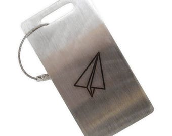 Paper Airplane Stainless Steel Luggage Tag