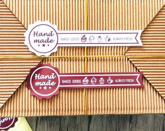 100 pcs bake package label HANDMADE ALWAYS FRESH vintage style