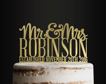 Personalized Wedding Cake Topper, Mr & Mrs with Last Name and Date, Bride and Groom Cake Topper, Mr and Mrs Cake Topper, Anniversary