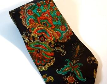 Wide Black Paisley Tie