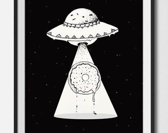 Donut , ufo Donut , cosmos , galaxy donut , printable art , ink drawing , digital art , Foodie , extraterrestrial donut , spaceship ,drawing