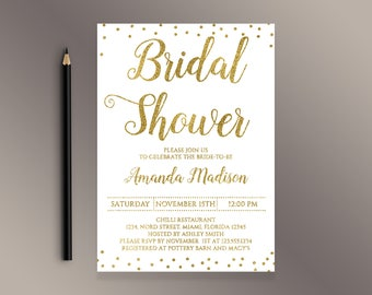 Bridal Shower Invitation, Gold confetti Bridal Shower invite, Digital Printable Invitations, White and gold glitter invites, Bridal Brunch