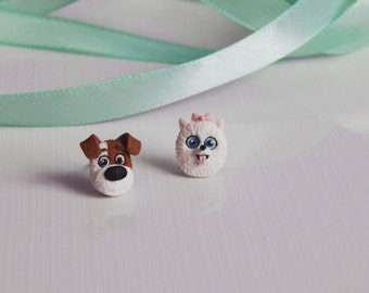 Fimo handmade earrings The secret life of pets Max Gidget