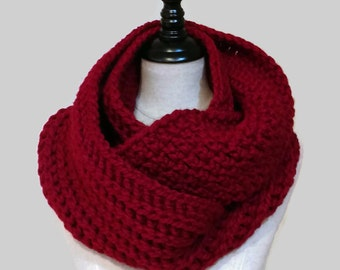 Crochet wool infinity scarf, dark red bulky knit loop, chunky cranberry eternity circle scarf, ribbed textured scarf, ready to ship