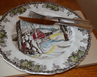 Vintage 'The Friendly Village Dinner Plate, Sugar Maples, Johnson Bros, Ironstone Transferware, Mid Century, Winter Scene, Replacement China