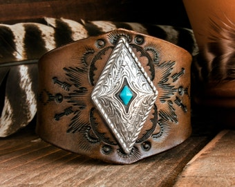 Leather Turquoise Cuff, Southwest Leather Bracelet, Native American Leather Cuff, Boho Leather Bracelet, Turquoise Leather Bangle,