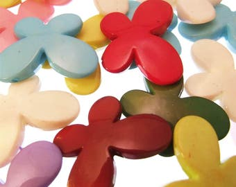 20 Butterfly Acrylic Beads Opaque Assorted Colours 29mm Summer Plastic