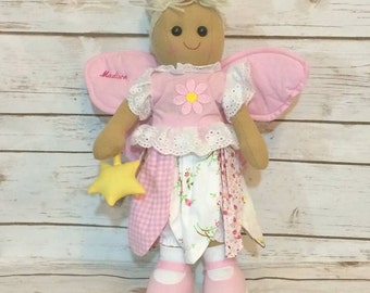 Personalised Fairy Rag Doll, Personalised gift for girls, Personalized Fairy Rag Doll