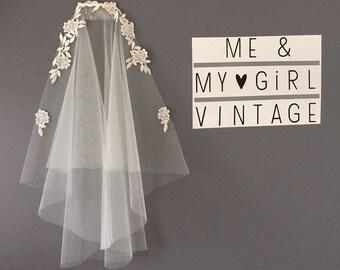 1920's inspired boho veil, boho veil, vintage veil, Gatsby veil, Lace Veil, Lace trimmed veil, Gatsby Veil, 20s Veil, Wedding  Veil,