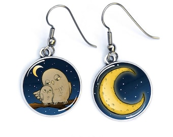 OWL earrings in the Moonlight, MOM and baby owl, surgical steel hooks, ref.289