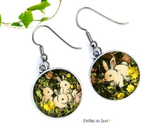 Family rabbits, mounted on surgical steel hooks, ideal anti-allergic, ref.282 earrings