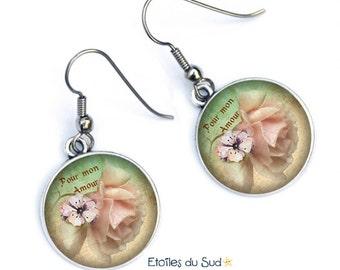 Bijoux d'oreilles fleurs roses,romantiques,pour mon amour,crochets acier chirurgical /ref.309