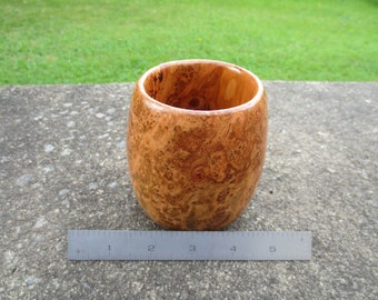 Solid wood cherry burl vase / decorative cup