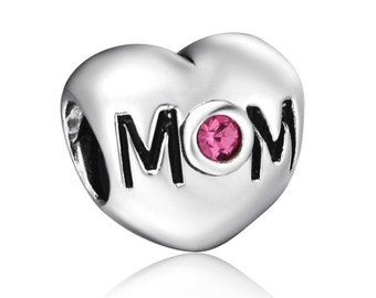 Mom Heart with Pink Rhinestone Charm, 925 Sterling Silver Plated Bead, For European & Pandora Style Bracelets or Necklaces