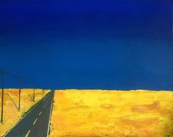"SOLD! Original Acrylic Painting Canola Field Blue Sky Highway - ""Prairie Paradise"" 24"" x 30""."