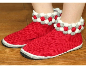 red slippers handmade crochet slippers womens house shoes women indoor shoes adult slippers crochet boots ankle boots ruby slippers