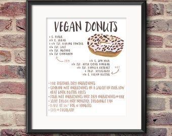 Vegan Donuts Recipe Art Print - DIGITAL DOWNLOAD, print on demand, print and frame, doughnuts, kitchen art