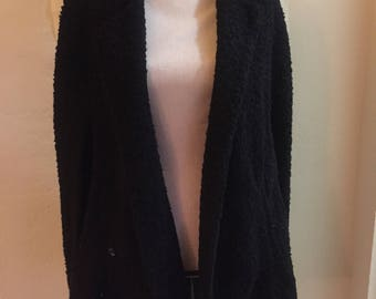 Actually very nice forever 21 cape black vegan wooly poncho cape small universal size medium large