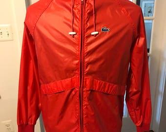 Vintage Alligator Lacoste Hooded Windbreaker Rain Jacket