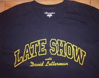 80's David Letterman Show TShirt Large Navy Blue Late Night TV Host