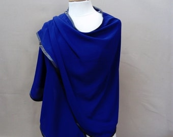 Blue and gray chale stole, stole, shawl, blue and gray shawl,