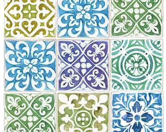 Julie's SurfaceTattoos Colored Tiles