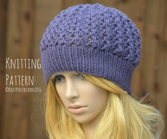 Women s Beanie Knitting Pattern : Womens Chunky Lace Beanie Hat Knitting Pattern PDF Instant ...