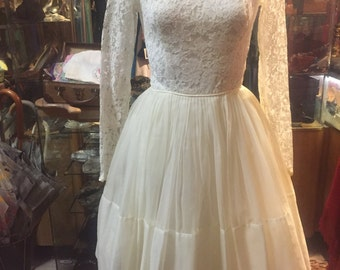 White and Fluffy 1960s Wedding Party Dress