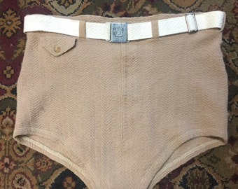 Very nice indeed! Taupe-colored Jantzen men's swim trunks of the 1940s