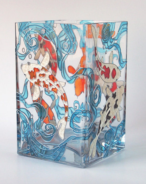 Items similar to hand painted glass vase koi fish on etsy for Koi fish vase