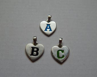 Heart Pendant A TO Z available with color enamel