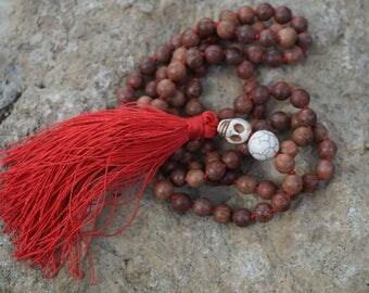 Natural Burma Rose wood,turquoise skulls, 108 bead Mala