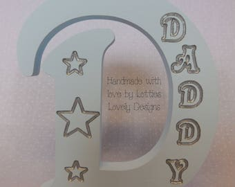 Freestanding engraved single fathers day letter. Dad, Daddy, Grandad, Gift, Keepsake