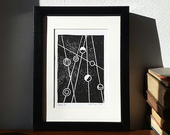 Linocut print, space travel print, nursery wall decor, original artwork, abstract linoprint, wall art, outer space, stars and planets