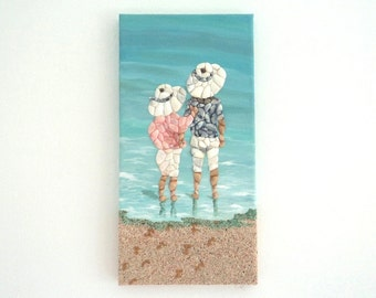 Children in Sunhats in Seashell Mosaic