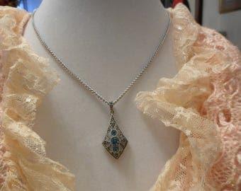 Vintage Marcasite Diamond Shaped 925  Pendent/Necklace
