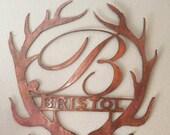 Antler Monogram, Elegant Letter, Personalized Door Hanger, Door Wreath, Gift Idea, Metal Wall Decor, Custom Wreath, Metal Sign, Initial